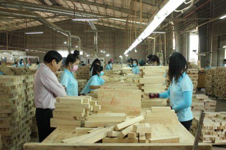 Sản xuất gỗ tinh chế tại Công ty CP Chế biến gỗ Cao su Tây Ninh. Ảnh: Phan Thắng