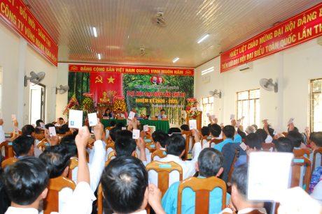 Các đại biểu biểu quyết thông qua đề án nhân sự