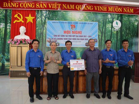 Ban lãnh đạo 2 đơn vị trao bảng công trình thanh niên xây dựng khu vui chơi chào mừng Đại hội Đảng các cấp nhiệm kỳ 2020 – 2025.